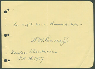 Autographs: WILLIAM H. BARTON JR. - AUTOGRAPH QUOTATION SIGNED 02/16/1937