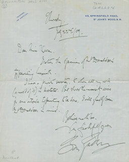 TOM GALLON - AUTOGRAPH LETTER SIGNED 07/22/1909