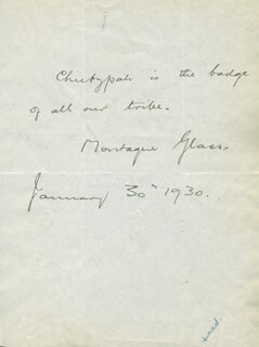 MONTAGUE GLASS - AUTOGRAPH QUOTATION SIGNED 01/30/1930