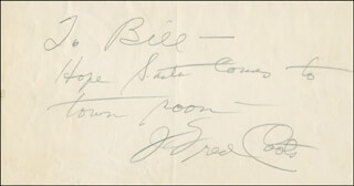 J. FRED COOTS - AUTOGRAPH NOTE SIGNED