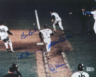 MOOKIE WILSON - AUTOGRAPHED SIGNED PHOTOGRAPH CO-SIGNED BY: BOB BIGFOOT STANLEY, RICH GEDMAN, BILL BILLY BUCKS BUCKNER