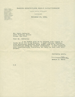 NEWTON D. BAKER - TYPED LETTER SIGNED 11/16/1934