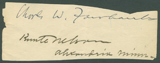 VICE PRESIDENT CHARLES W. FAIRBANKS - AUTOGRAPH CO-SIGNED BY: KNUTE NELSON, CHARLES A. CULBERSON