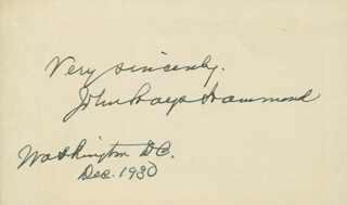Autographs: JOHN HAYS HAMMOND SR. - AUTOGRAPH SENTIMENT SIGNED 12/1930