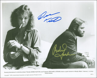 INTERIORS MOVIE CAST - PRINTED PHOTOGRAPH SIGNED IN INK CO-SIGNED BY: RICHARD JORDAN, DIANE KEATON