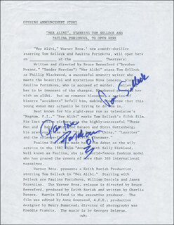 HER ALIBI MOVIE CAST - DOCUMENT SIGNED CO-SIGNED BY: TOM SELLECK, PAULINA PORIZKOVA