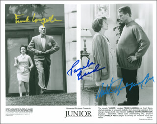 JUNIOR MOVIE CAST - AUTOGRAPHED SIGNED PHOTOGRAPH CO-SIGNED BY: FRANK LANGELLA, ARNOLD SCHWARZENEGGER, PAMELA REED