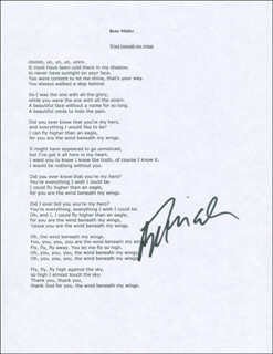 Autographs: BETTE MIDLER - TYPED LYRIC(S) SIGNED