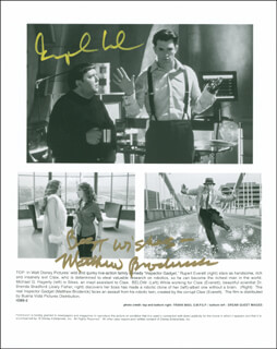 INSPECTOR GADGET MOVIE CAST - PRINTED PHOTOGRAPH SIGNED IN INK CO-SIGNED BY: MATTHEW BRODERICK, RUPERT EVERETT