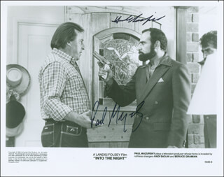 INTO THE NIGHT MOVIE CAST - PRINTED PHOTOGRAPH SIGNED IN INK CO-SIGNED BY: PAUL MAZURSKY, HADI SADJADI
