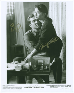 COME SEE THE PARADISE MOVIE CAST - PRINTED PHOTOGRAPH SIGNED IN INK CO-SIGNED BY: DENNIS QUAID, TAMLYN TOMITA