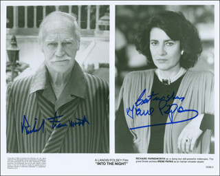 INTO THE NIGHT MOVIE CAST - PRINTED PHOTOGRAPH SIGNED IN INK CO-SIGNED BY: RICHARD FARNSWORTH, IRENE PAPAS