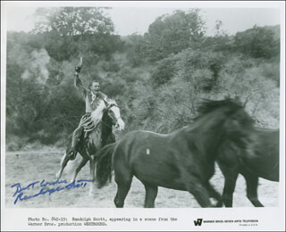 RANDOLPH SCOTT - PRINTED PHOTOGRAPH SIGNED IN INK