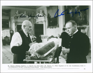 THE REMAINS OF THE DAY MOVIE CAST - AUTOGRAPHED SIGNED PHOTOGRAPH CO-SIGNED BY: ANTHONY HOPKINS, PETER VAUGHAN