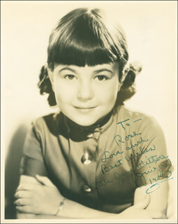 JANE WITHERS - AUTOGRAPHED INSCRIBED PHOTOGRAPH 1935