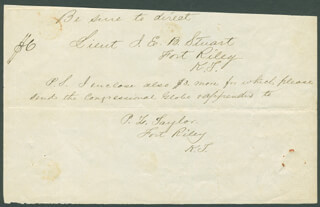 MAJOR GENERAL JAMES EWELL BROWN JEB STUART - THIRD PERSON AUTOGRAPH NOTE