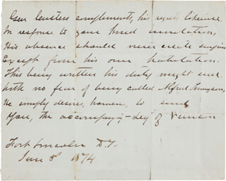 Autographs: MAJOR GENERAL GEORGE ARMSTRONG CUSTER - THIRD PERSON AUTOGRAPH LETTER 06/05/1874