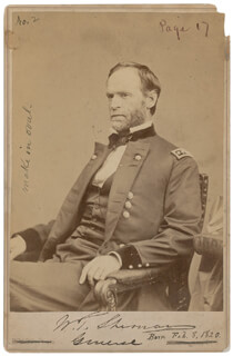 Autographs: GENERAL WILLIAM T. SHERMAN - PHOTOGRAPH SIGNED