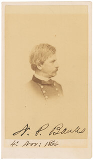 Autographs: MAJOR GENERAL NATHANIEL P. BANKS - PHOTOGRAPH SIGNED 11/04/1864