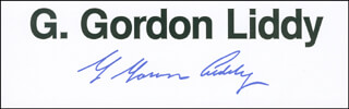 G. GORDON LIDDY - PRINTED CARD SIGNED IN INK
