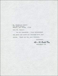 Autographs: ARCHIBALD COX - TYPED LETTER SIGNED