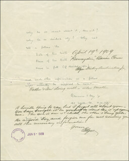 Autographs: EDGAR STIRLING AUCHINCLOSS, JR. - AUTOGRAPH NOTE SIGNED 06/09/1909