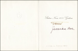 Autographs: PRESIDENT JOSIP BROZ TITO (YUGOSLAVIA) - CHRISTMAS / HOLIDAY CARD SIGNED CO-SIGNED BY: JOVANKA BROZ