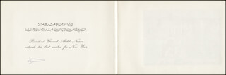 PRESIDENT GAMAL ABDEL NASSER (EGYPT) - CHRISTMAS / HOLIDAY CARD SIGNED CIRCA 1967