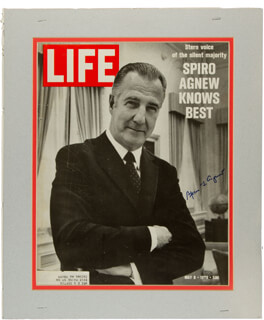 VICE PRESIDENT SPIRO T. AGNEW - MAGAZINE COVER SIGNED