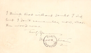 SAMUEL L. MARK TWAIN CLEMENS - AUTOGRAPH POST CARD SIGNED CIRCA 1902