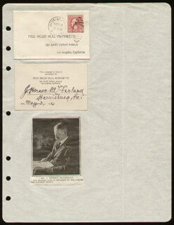 Autographs: J. HORACE McFARLAND - PRINTED CARD SIGNED IN INK 05/03/1921