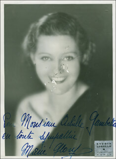 MARIE GLORY - AUTOGRAPHED INSCRIBED PHOTOGRAPH