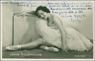 LEONE VILLEMAGNE - AUTOGRAPH NOTE ON PHOTOGRAPH SIGNED 06/22/1936