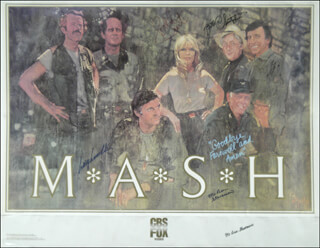 M*A*S*H TV CAST - AUTOGRAPHED SIGNED POSTER CO-SIGNED BY: MCLEAN STEVENSON, LARRY LINVILLE, WILLIAM CHRISTOPHER, LORETTA SWIT