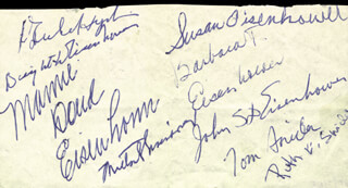 PRESIDENT DWIGHT D. EISENHOWER - AUTOGRAPH CIRCA 1962 CO-SIGNED BY: RUTH EISENHOWER SNIDER, THOMAS SNIDER, SUSAN EISENHOWER, BARBARA T. EISENHOWER, ANNE EISENHOWER, MARY EISENHOWER, HARRY SNIDER, JON GRIFFIN, BRIGADIER GENERAL JOHN S.D. EISENHOWER, FIRST LADY MAMIE DOUD EISENHOWER, MILTON S. EISENHOWER