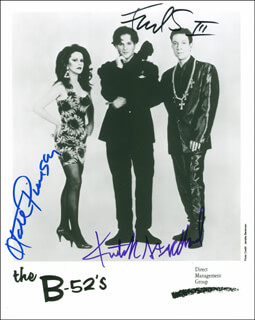 THE B-52'S - AUTOGRAPHED SIGNED PHOTOGRAPH CO-SIGNED BY: THE B-52'S (FRED SCHNEIDER), THE B-52'S (KATE PIERSON), THE B-52'S (KEITH STRICKLAND)