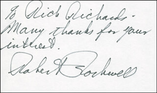 ROBERT ROCKWELL - AUTOGRAPH NOTE SIGNED