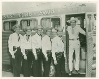 THE TEXAS TROUBADOURS - AUTOGRAPHED SIGNED PHOTOGRAPH CO-SIGNED BY: ERNEST TUBB, LEON RHODES, JACK DRAKE, BUDDY EMMONS, BILLY BUN WILSON, JIMMY JOHNSON