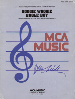 Autographs: BETTE MIDLER - SHEET MUSIC SIGNED