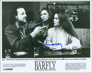 BARFLY MOVIE CAST - AUTOGRAPHED SIGNED PHOTOGRAPH CO-SIGNED BY: FAYE DUNAWAY, MICKEY ROURKE, ALICE KRIGE