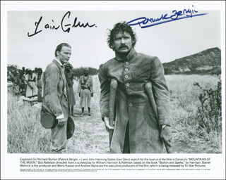 MOUNTAINS OF THE MOON MOVIE CAST - PRINTED PHOTOGRAPH SIGNED IN INK CO-SIGNED BY: PATRICK BERGIN, IAIN GLEN
