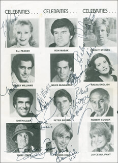 ROBERT LOGGIA - INSCRIBED PROGRAM PAGE SIGNED CO-SIGNED BY: DENNIS COLE, PETER BROWN, TRINI LOPEZ, DWIGHT STONES, RALNA ENGLISH, E.J. PEAKER, TOM HALLICK, MILES MCNAMARA