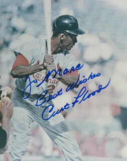 CURT FLOOD - AUTOGRAPHED INSCRIBED PHOTOGRAPH