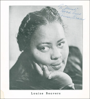 LOUISE BEAVERS - INSCRIBED PRINTED PHOTOGRAPH SIGNED IN INK