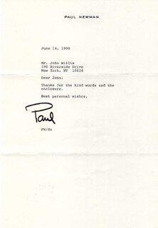PAUL NEWMAN - TYPED LETTER SIGNED 06/14/1990