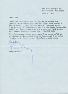 TONY MUSANTE - TYPED LETTER SIGNED 06/03/1981