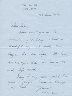 IRENE WORTH - AUTOGRAPH LETTER SIGNED 06/23/1980