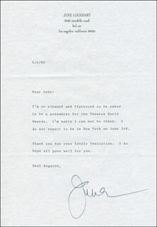 JUNE LOCKHART - TYPED LETTER SIGNED 05/04/1982  - HFSID 300550