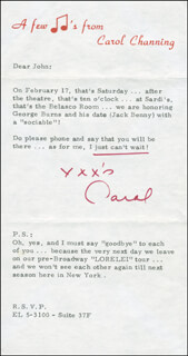CAROL CHANNING - TYPED LETTER SIGNED CIRCA 1973