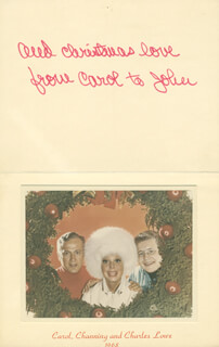 CAROL CHANNING - CHRISTMAS / HOLIDAY CARD SIGNED CIRCA 1968